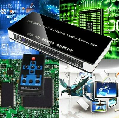4K HDMI Switch 5x1 Optical Toslink L/R 3D Audio Extractor W/Remote Selector