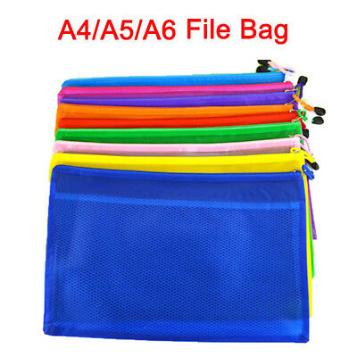 A4 A5 A6 File Folder Document Wallet Zip Storage Bag Stationery School Office