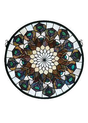 """PEACOCK FEATHER MEDALLION Tiffany Style Stained Glass Window 17"""""""