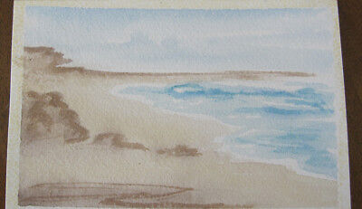 WATERCOLOUR hand PAINTED pastel SANDS card PAINTING hobby CRAFT blues BROWNS art
