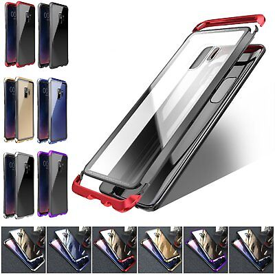 Luphie Metal Frame Case + Tempered Glass Back Cover For Samsung Galaxy S9 S9+