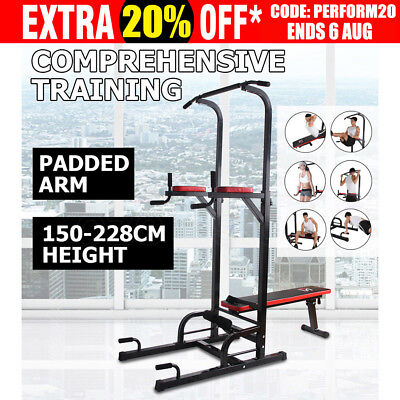 Power Tower - Dips, Knee Raises, Chin up, Weight Bench Fitness Station Home Gym