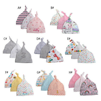3pcs/lot Baby Newborn Cotton Printed Hats Caps For 0-6 Months Baby Accessories