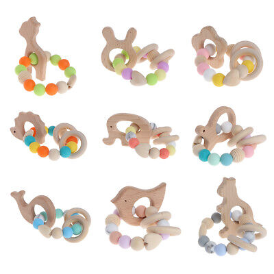 Nursing Bracelets Wooden Teether Newborn Silicone Chew Beads Rattles Baby Toys