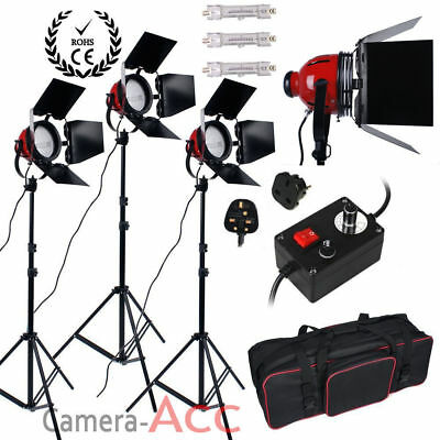 3 x 800W Kit de Red Head Lumière Continue Vidéo Photo Studio 3 Supports Ampoules