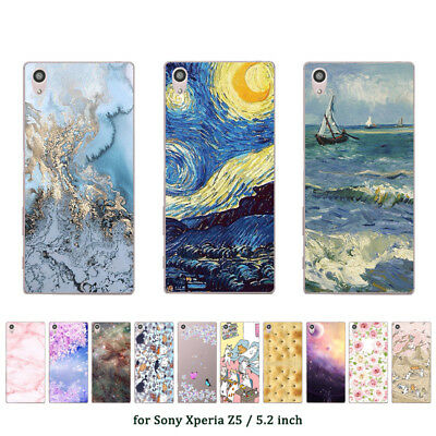 "5.2"" Soft TPU Silicone Case For Sony Xperia Z5 Phone Back Cover Skins Marble"