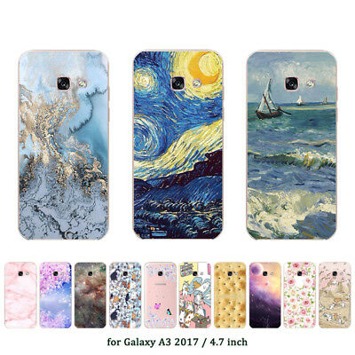 Soft TPU Silicone Case For Samsung Galaxy A3 2017 SM-A320F Back Cover Marble