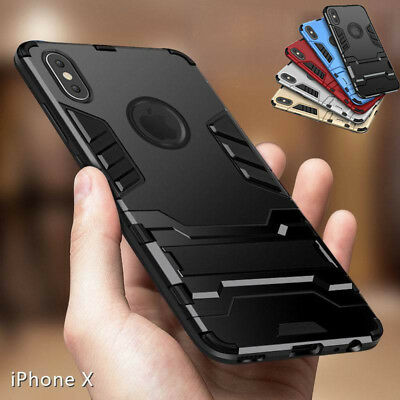 For iPhone X 8 7 6S Plus Shockproof Hybrid Rubber Hard Case Cover with KickStand