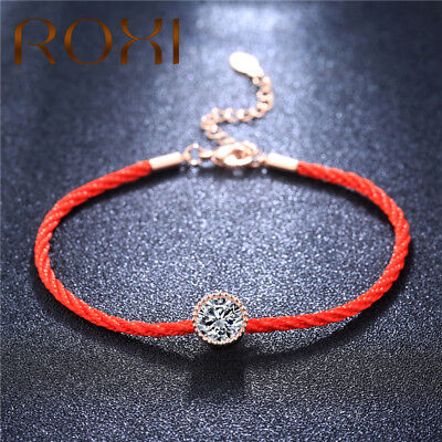 Austrian Crystals Charm Bracelets for Women Thin Red Thread String Rope Fashion