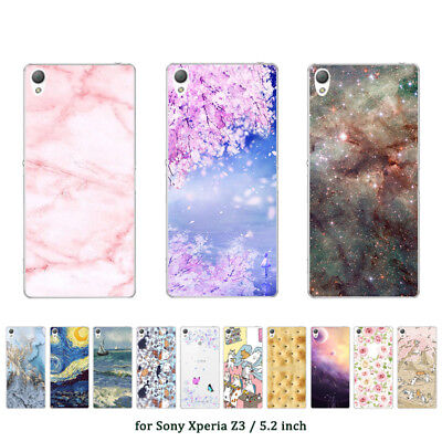 "5.2"" Soft TPU Silicone Case For Sony Xperia Z3 Phone Back Cover Skins Marble"