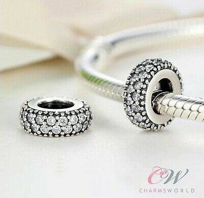 925 Sterling Silver Crystal Pave Spacer Charm for Charm Bracelet