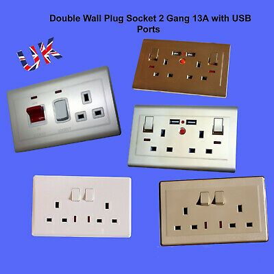 Double Wall Plug Socket 2 Gang 13A with/Without USB Ports Screw less Plate UK