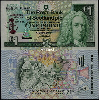 Great Britain Scotland Royal Bank 1997 Commemorative Banknotes 1 Pound UNC