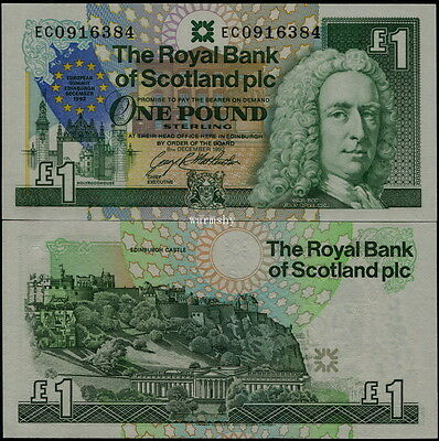 Great Britain Scotland Royal Bank 1992 Commemorative Banknotes1 Pound Summit UNC
