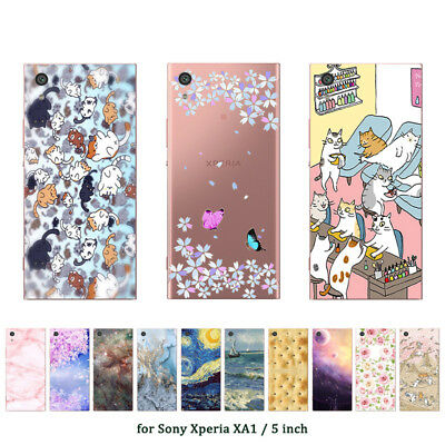 """5.0"""" Soft TPU Silicone Case For Sony Xperia XA1 Phone Back Cover Skins Marble"""