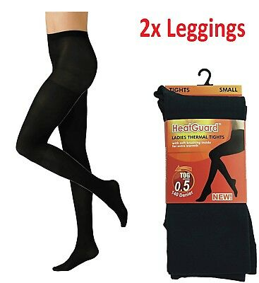 2x Ladies Thermal Thick Winter Black Warm Stretchy Women Foot Tights&Medium Size