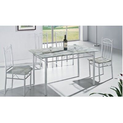 Modern White Kitchen Dining Table with 4 Chairs 5 Piece (RRP £99.99)