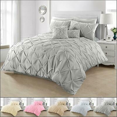 Pintuck Bedding Set Duvet Cover King Size Double Single Super Designer Quilt New