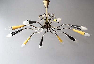 79cm_Messing Spider Sputnik_10 flammig_50's 60's Deckenlampe Rockabilly Stilnovo
