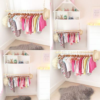 40cm Wooden Hanging Clothes Rail Rack Bedroom Wardrobe storage. RAIL ONLY!