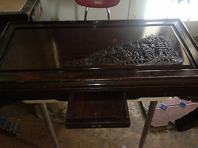 ANTIQUE 19c CHINESE ROSE WOOD HAND CARVED  COFFEE ,TEA TABLE 39''lx16w''x15t