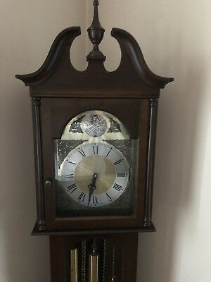 Grandfather Clock Beautiful Chain Driven with Weights and  Pendulum Runs perfec