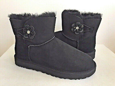 2d1cb291396 UGG CLASSIC MINI Turnlock Bling Swarovski Crystal Black Boot Us 9 ...
