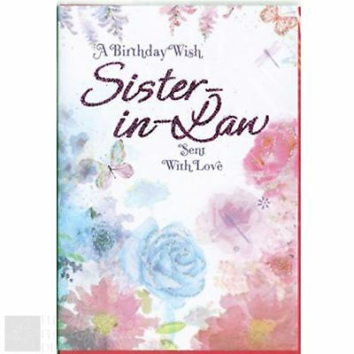 Greeting card sister in law happy birthday 279 picclick uk happy birthday greeting card sister in law sent with love purple bookmarktalkfo Images