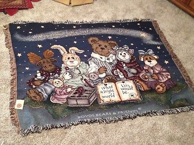 Boyds Bears, What A Bright World ,Limited Edition, Afghan Throw, NWT