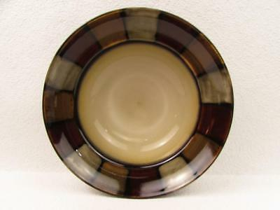 Taos by Pfaltzgraff Soup Cereal Bowl Grey Red And Tan Blocks Cream Center  L102