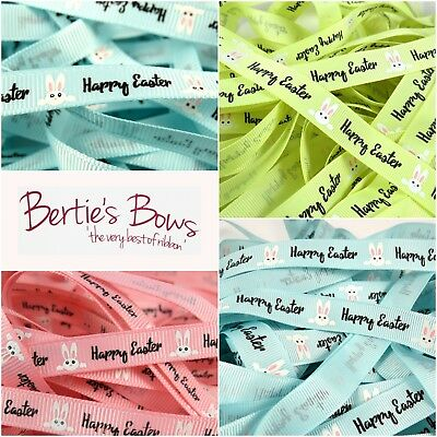 Bertie's Bows Happy Easter White Bunny Ribbons - 3 colours in 9mm & 16mm