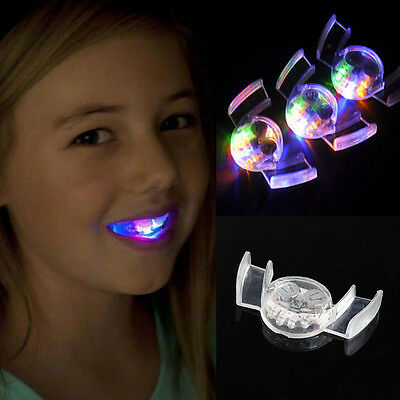LED Light Up Flashing Flash Mouth Guard Piece Party Glow Tooth Funny Toys RU