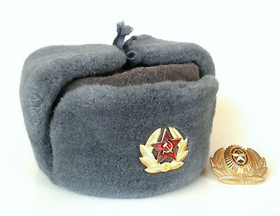 Russian Army Winter Fur HAT MILITARY ORIGINAL Ushanka + 2 badges ! size  60 dd834fa5baf