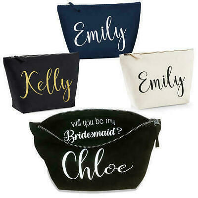 Personalised Bride Mother of Groom Bridesmaid Any Name Wedding Gift Make Up Bag