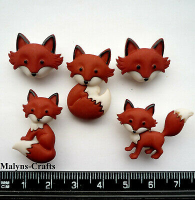 OUT FOXED Craft Buttons 1ST CLASS P&P Animal Baby Forest Fox Dress It Up Novelty