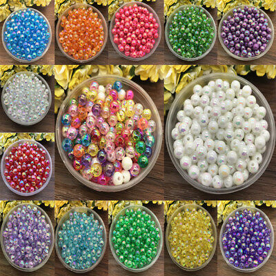 6mm 100pcs Loose bright Bead Acrylic Round Pearl Spacer Jewelry Making 23 colors