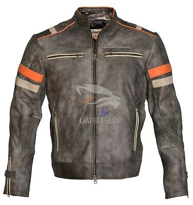 Men's Vintage Motorcycle Biker Cafe Racer Retro 2 Moto Distressed Leather Jacket