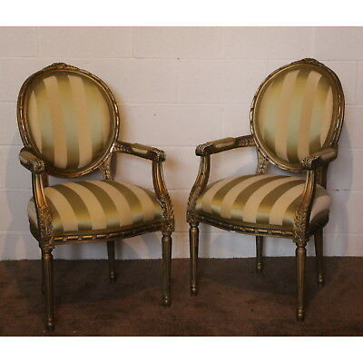 A Pair of C20th Ornate Gilt Armchairs Bedroom Chairs, Comfy Living Room Armchair