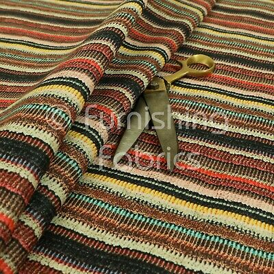 Funky Multicolour Designer Striped Pattern Velour Print Velvet Upholstery Fabric