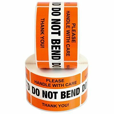 """DO NOT BEND Please Handle With Care Label Stickers 2"""" x 3"""" 1000 Labels 2 Roll..."""