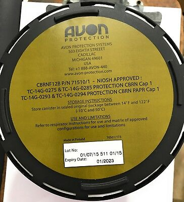 NEW! Avon CBRN-F12B 40mm NATO Gas Mask Filter C50/M53/FM12 #70501/1, Exp 01/2023