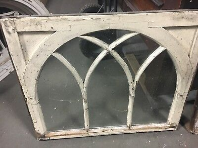 """c1900 arched gothic window frame sash OLD glass solid 37.25"""" x 31"""" x 1 5/8"""""""