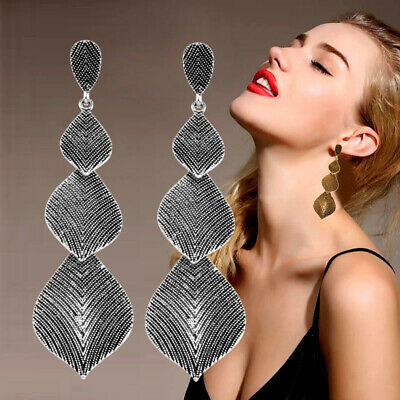 Vintage Long Leaf Drop Earrings Hanging Antique Gold/Silver Color Trendy Jewelry