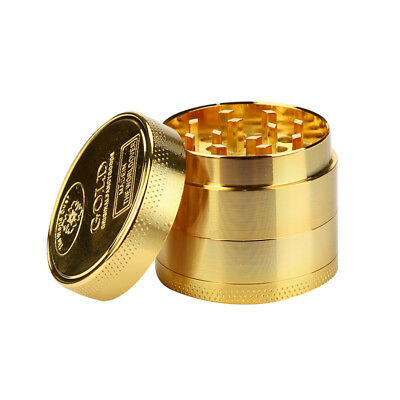 4 Piece Magnetic 2.5 Inch Gold Tobacco Herb Grinder Spice Aluminum With Scoop