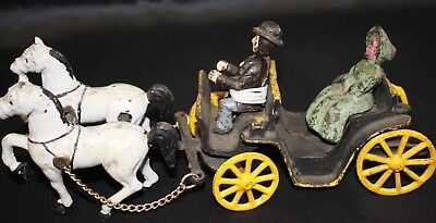 VTG Cast Iron 2 Horse Drawn Buggy One Rider and One Passenger!