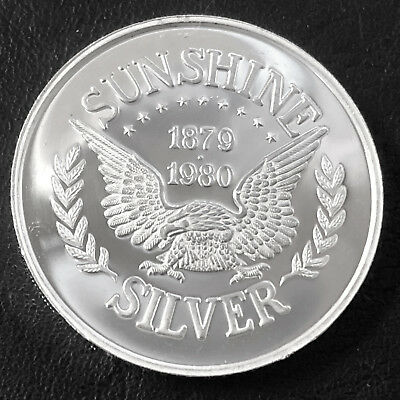 1980 Sunshine Silver 1 Troy oz .999 Fine Silver Proof Round D7U3