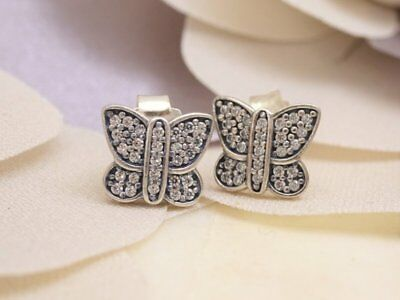 e9e6f3167 NEW Authentic PANDORA Silver SPARKLING BUTTERFLY Stud Earrings 290571CZ  RETIRED