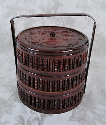 Vintage Chinese Bamboo Woven Wicker Wedding Basket 3 Tiers Vintage Laquered