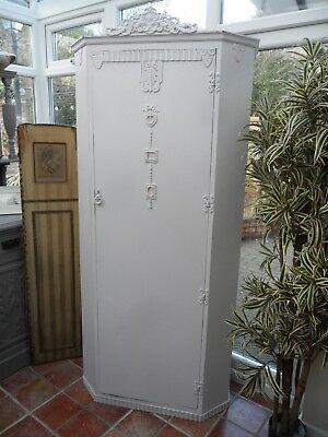 Adorable Vintage Painted Single French Wardrobe with Lovely Interior Shabby Chic