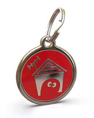 Pet Dog Cat ID Engraved Name Tag Personalised Stainless Steel Red Kennel